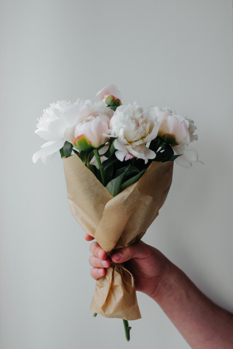 A bouquet of flowers with white background